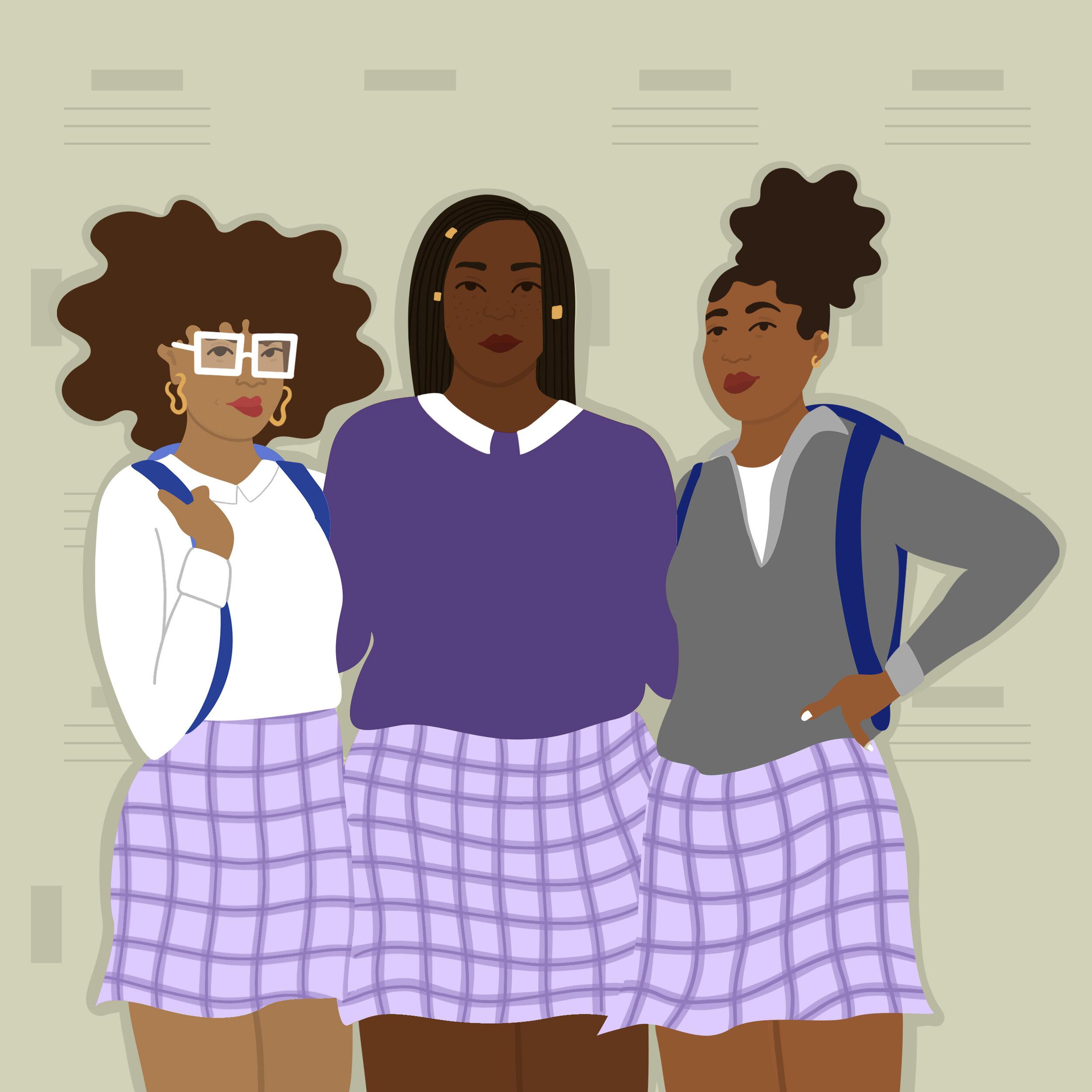 Three Black characters in purple school uniforms standing in front of lockers.
