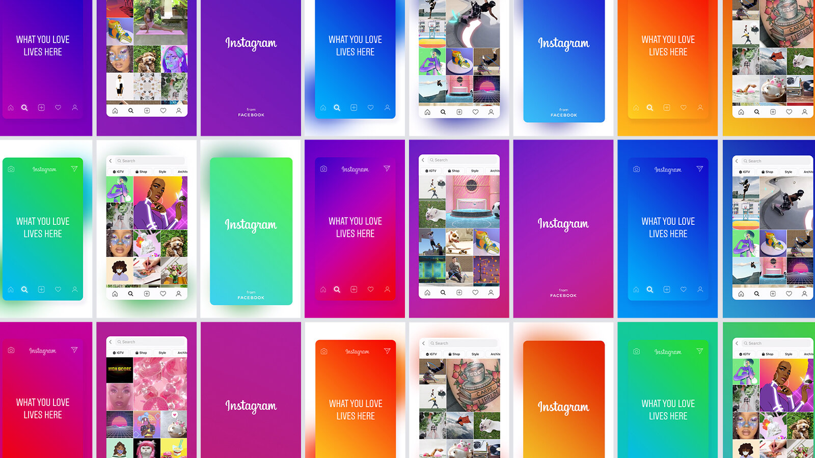 A collection of images to show the design system of the Instagram project.