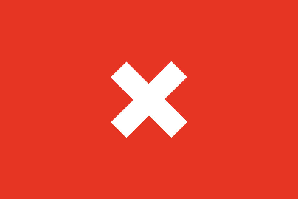 A white X on a red background.