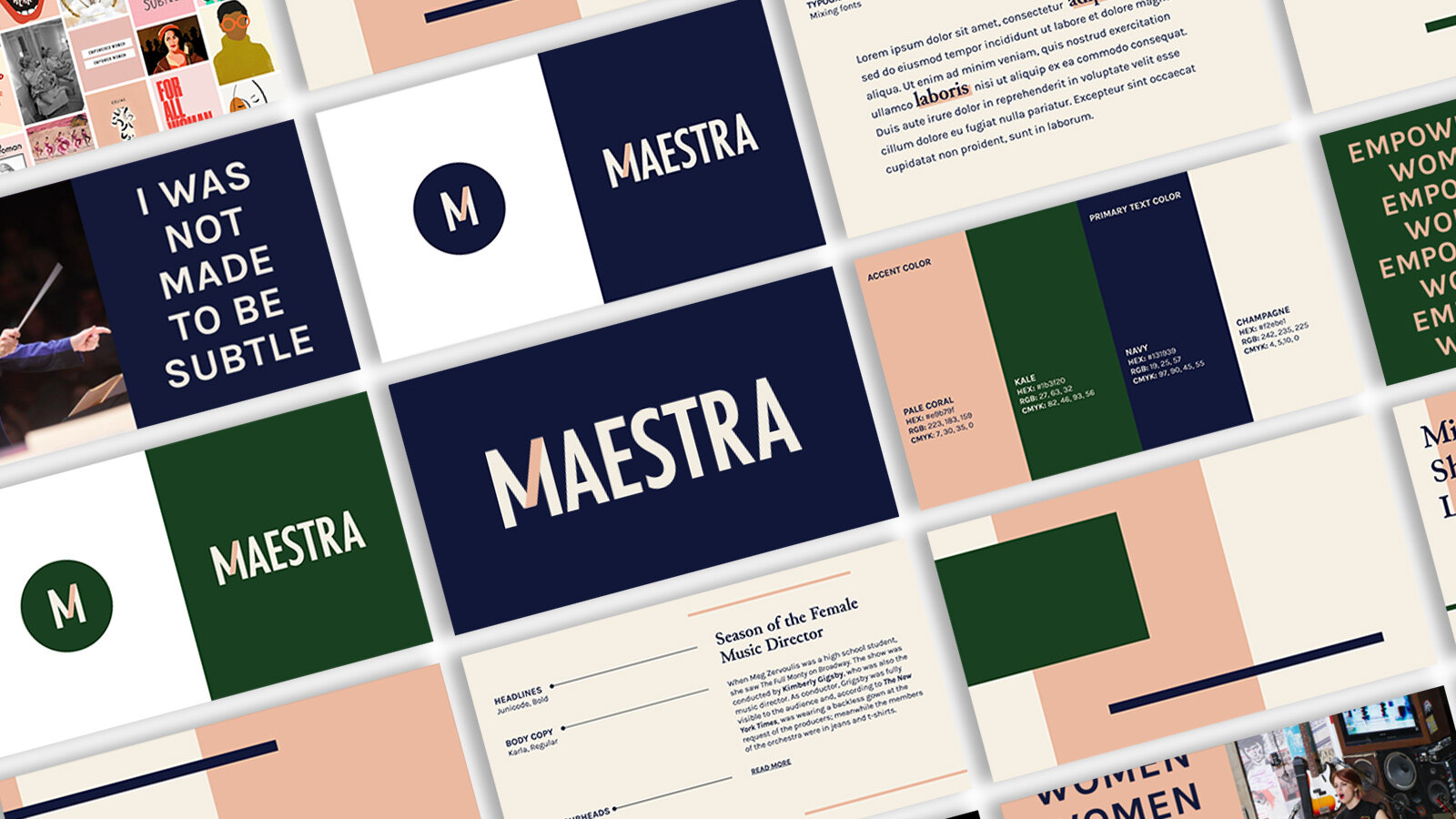 Maestra branding images tilted at a 45 degree angle.