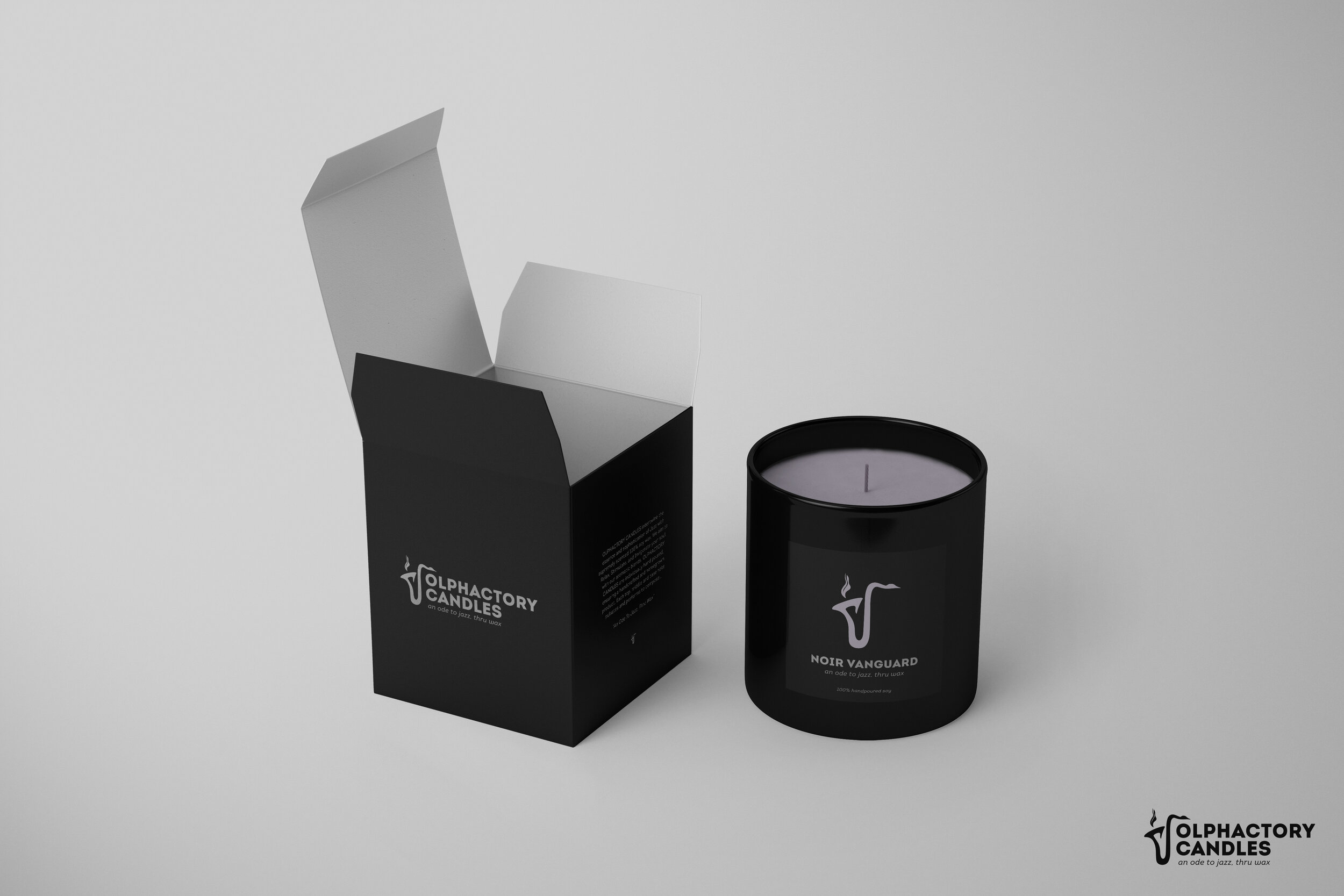 An open box and OPC candle on a white background.