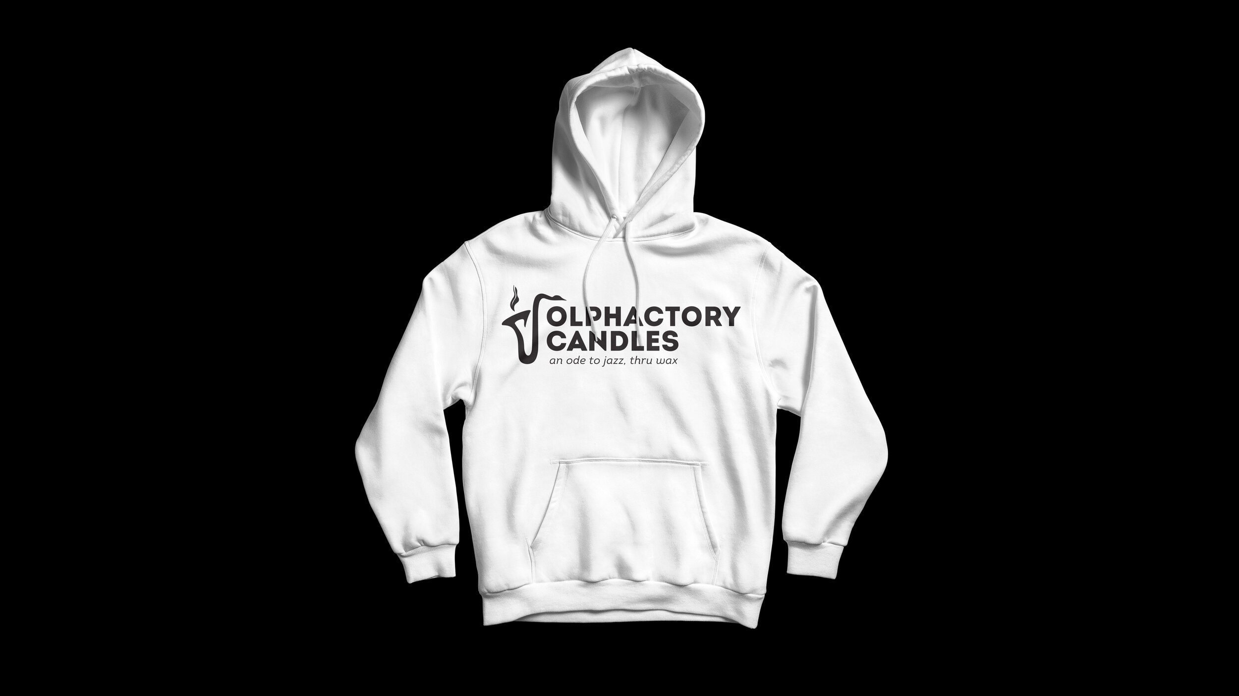 A white hoodie with the Olphactory Candle logo in black on a black background.
