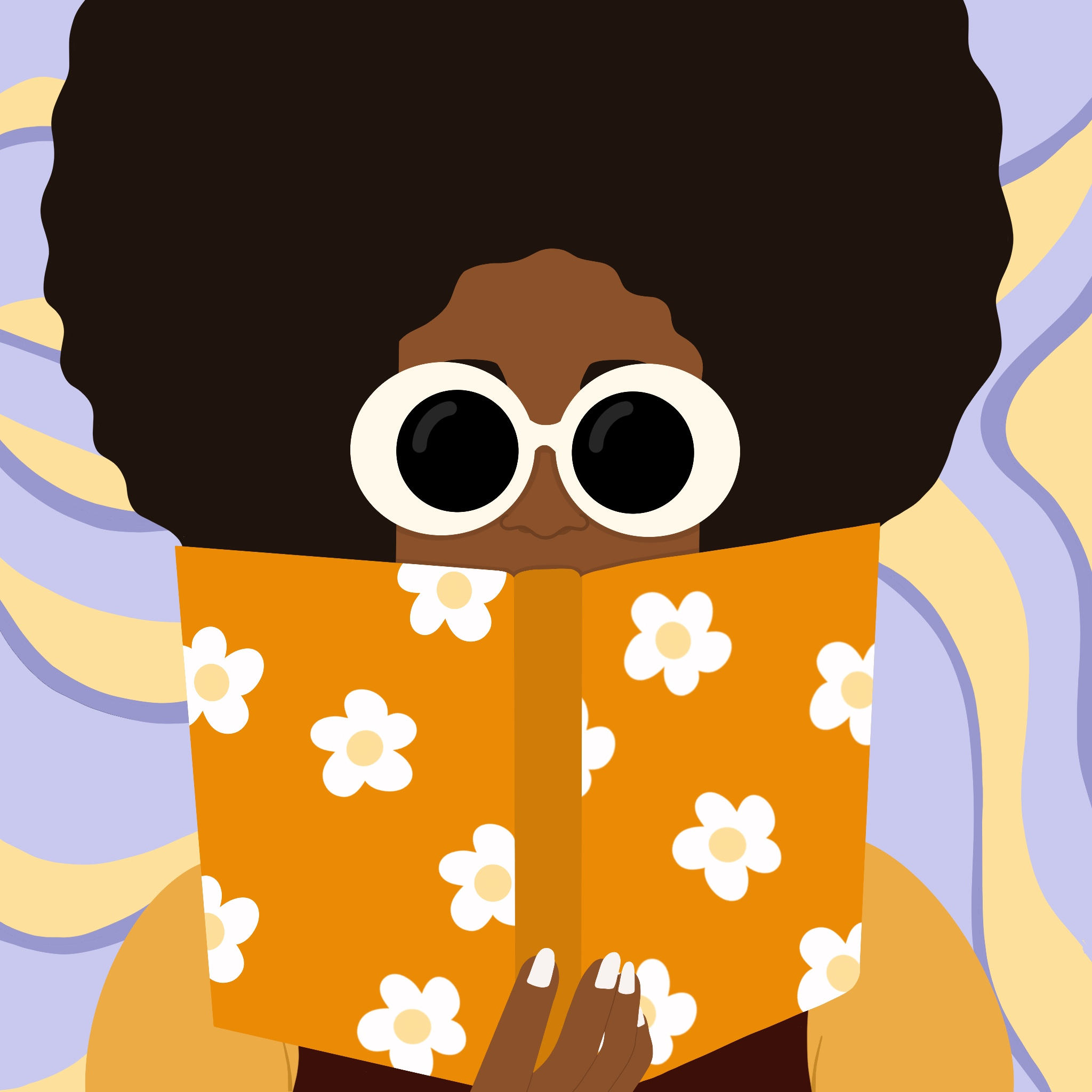A woman with a large afro and 60s-era chunky white sunglasses reads an orange book covered in flowers over a flowy background.