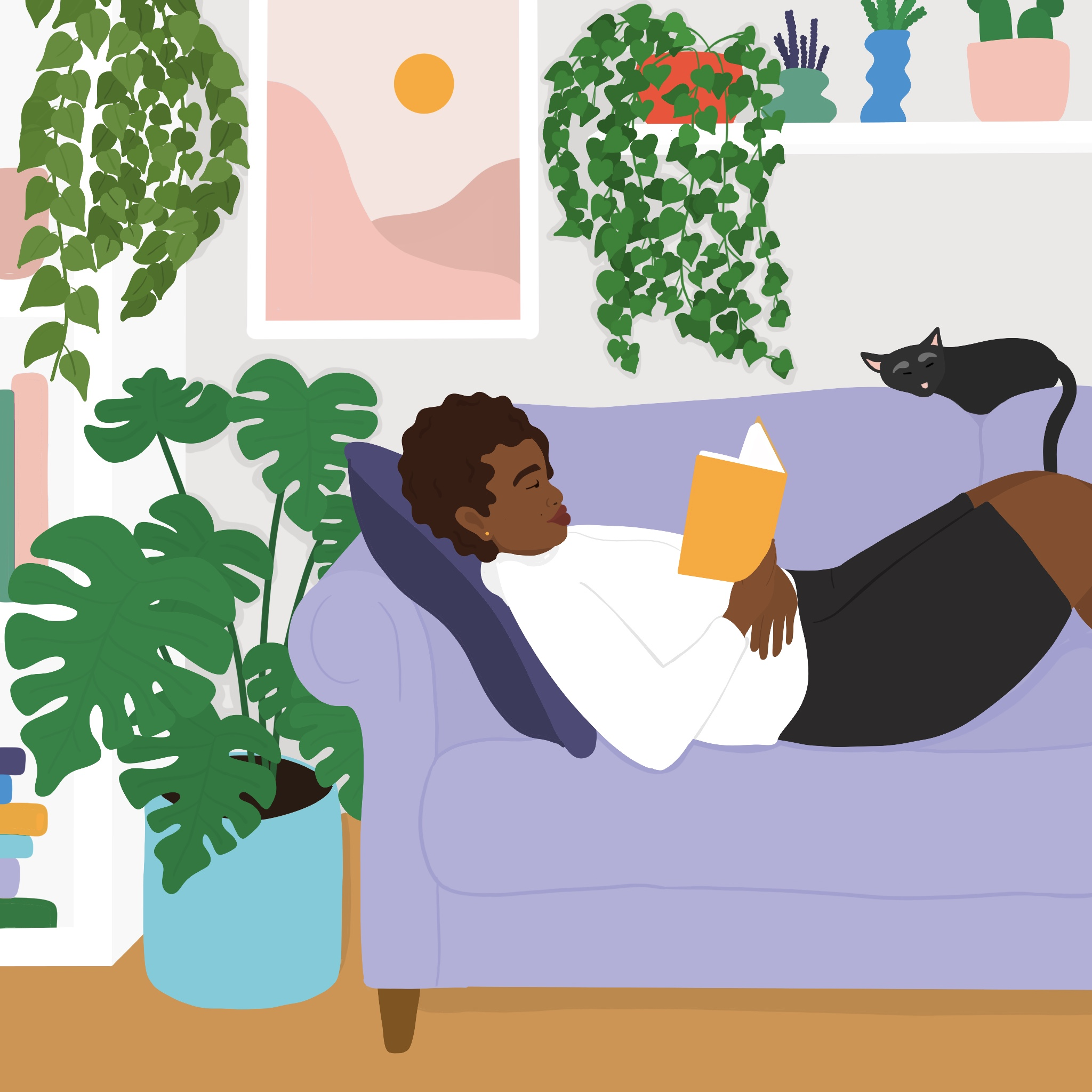 A woman reads on a couch surrounded by plants and a sleeping cat.