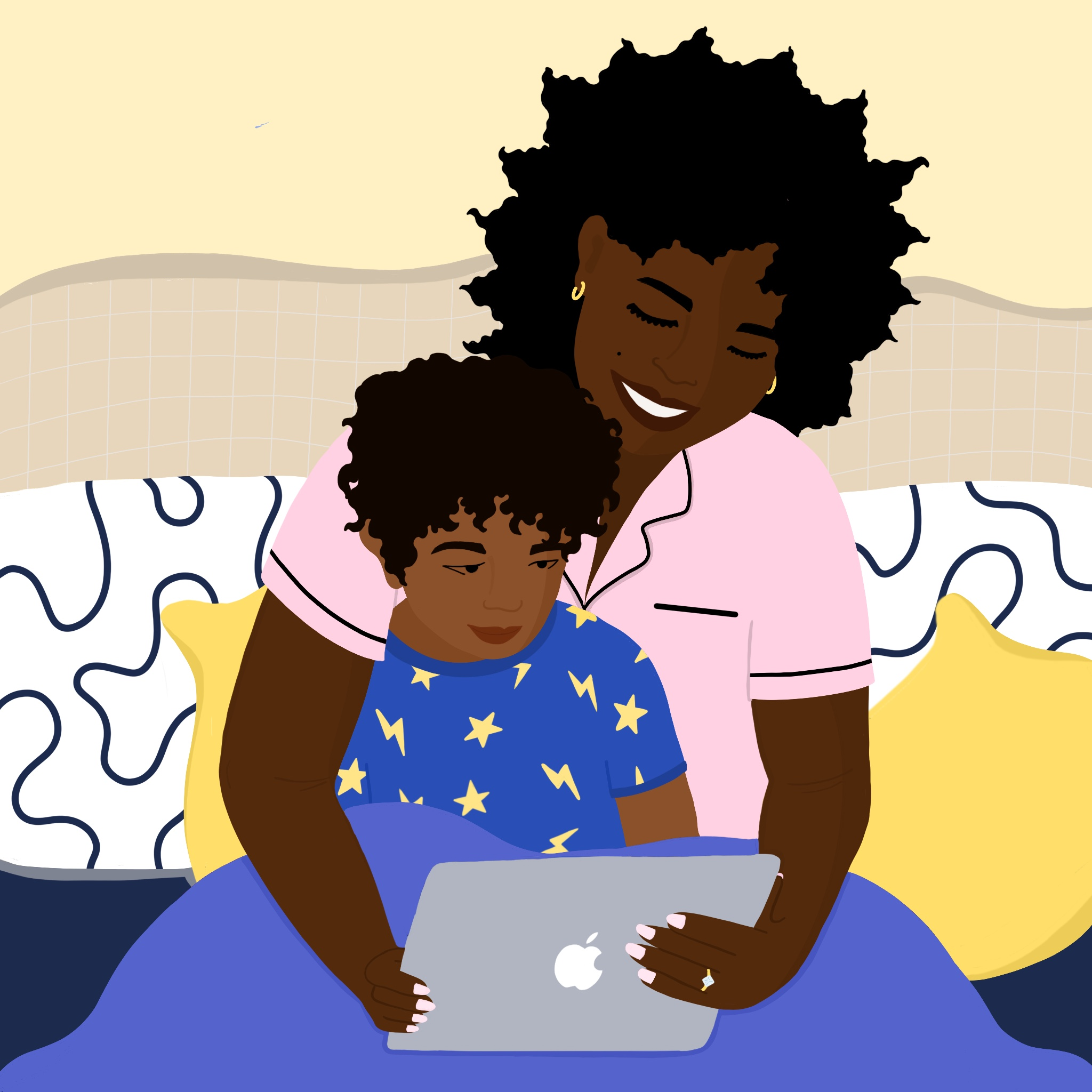 A Black woman reads to her child from a tablet on a bed.
