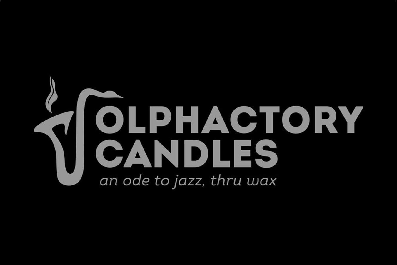 The OLPHACTORY CANDLES logo in silver on a black background.