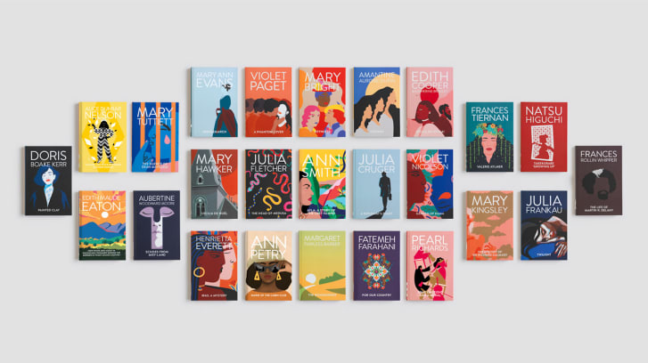 A collection of books with illustrated covers.