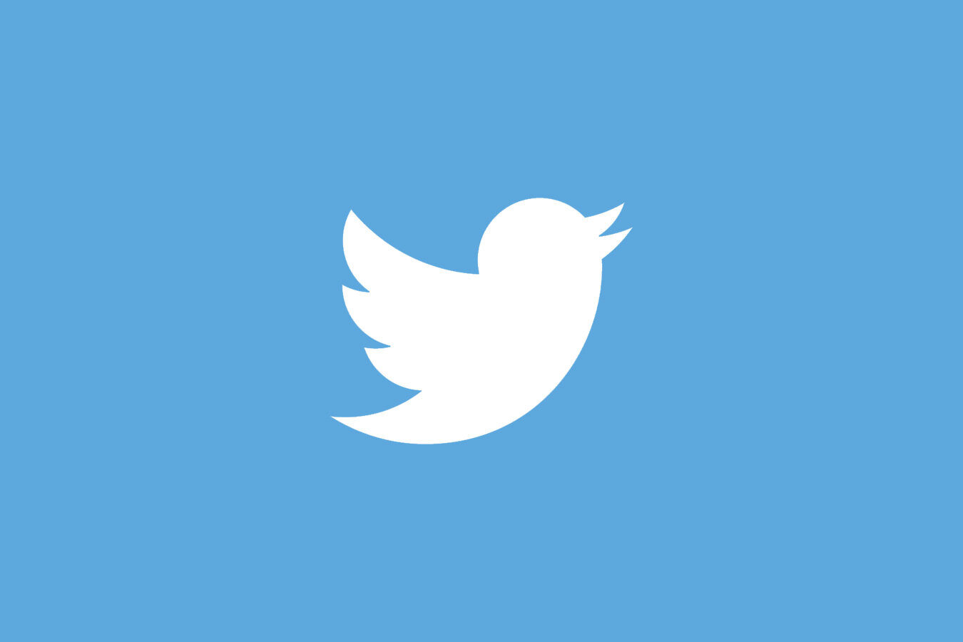 Twitter logo in white on a blue background.