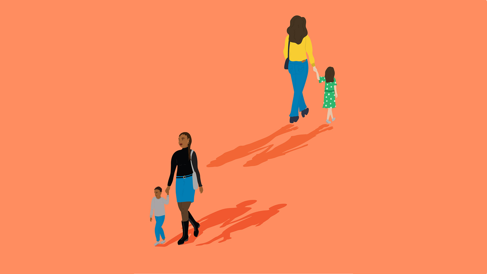 Two sets of mothers and their children on an orange background.
