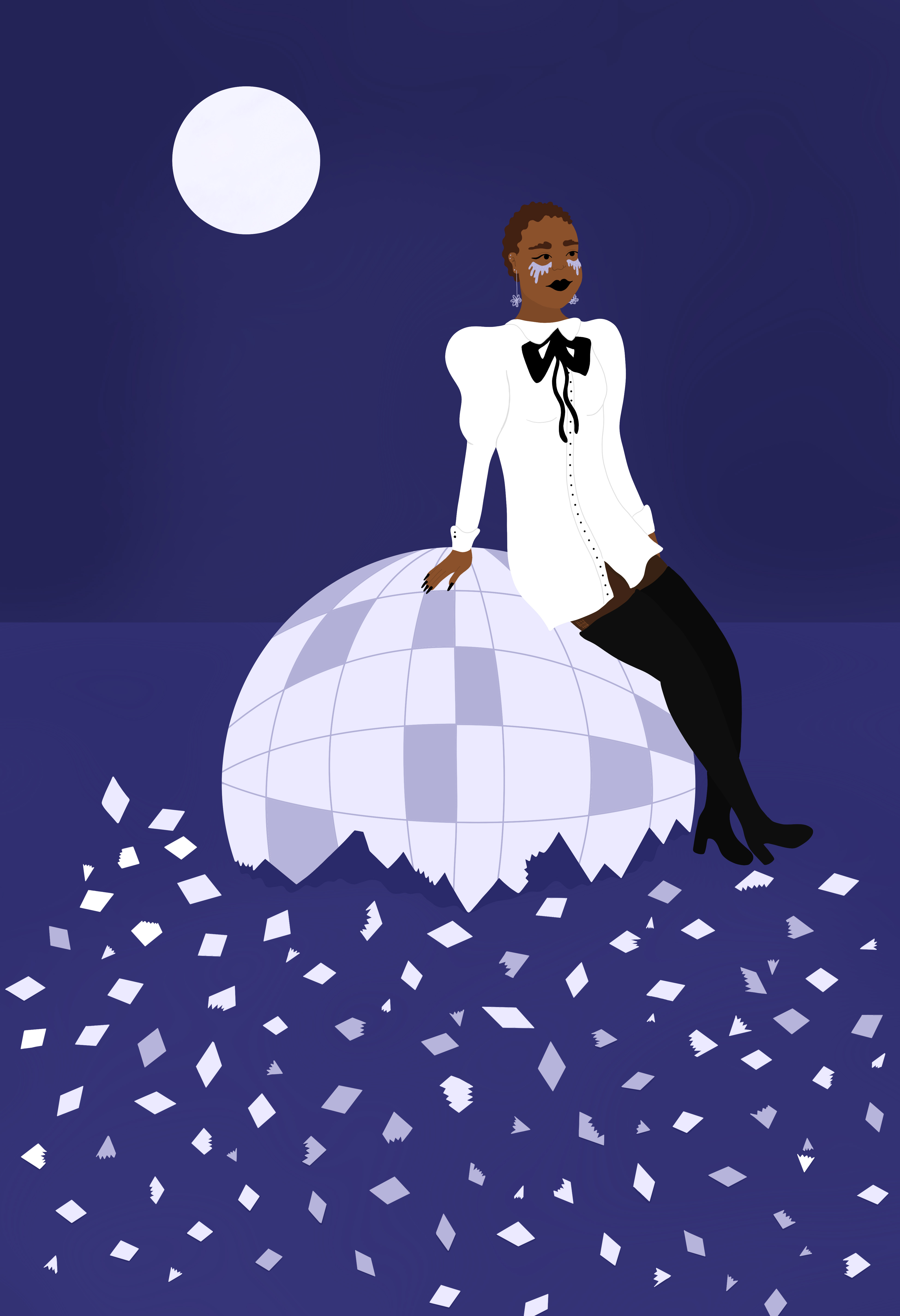 A woman in a white dress sits on a shattered disco ball.