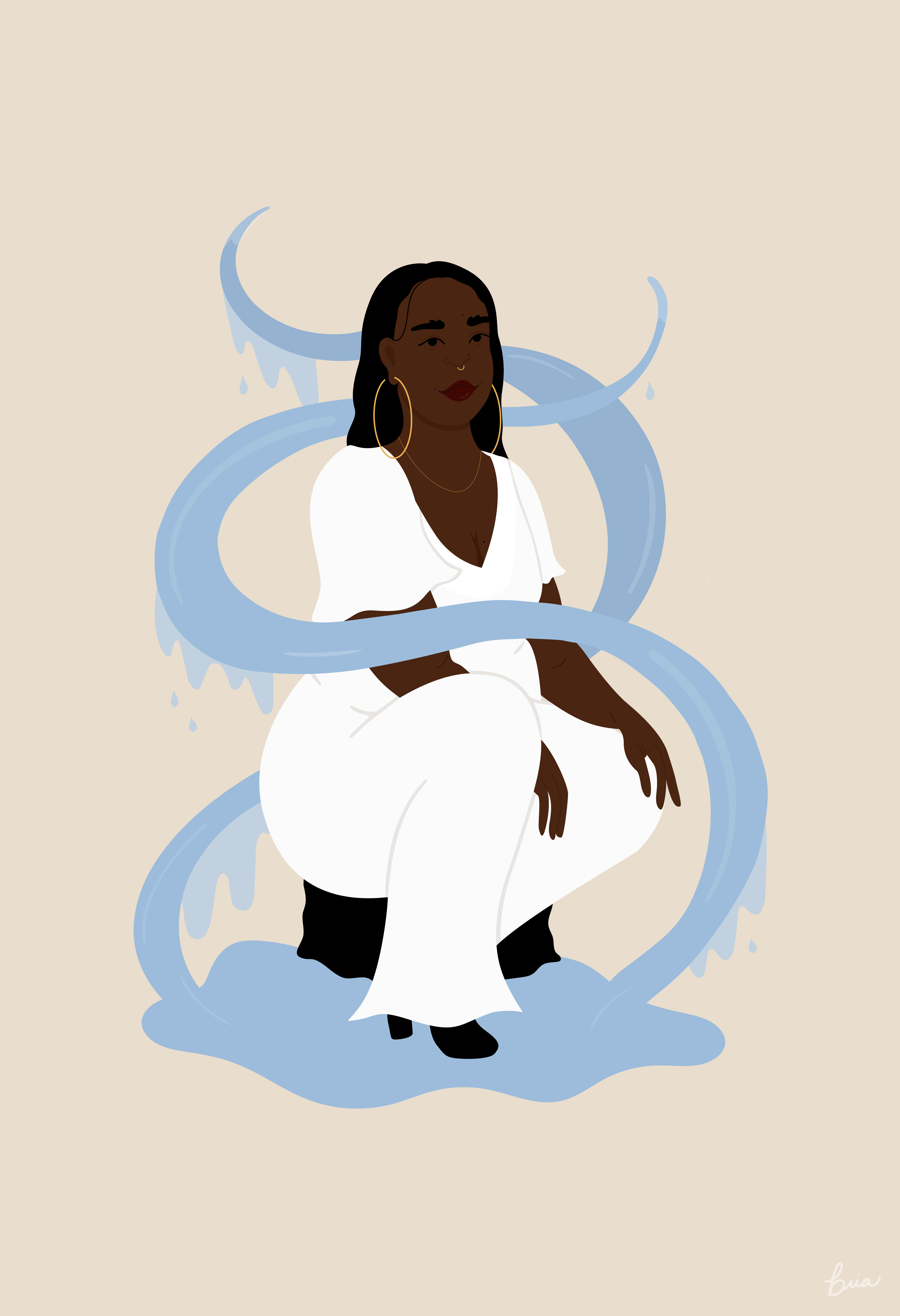 A Black woman in a white jumpsuit crouches in a pool of water.