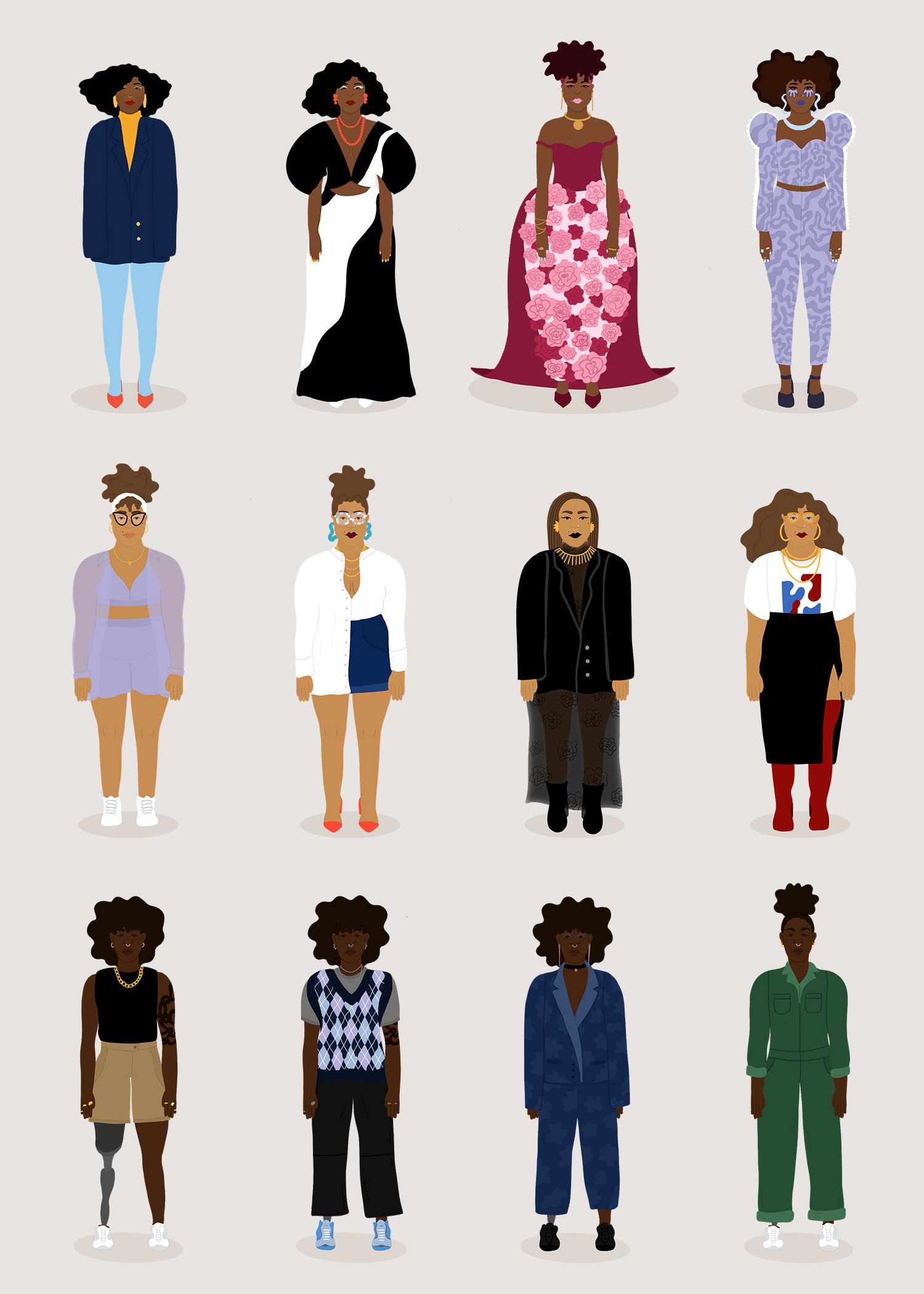 12 characters in 4 columns on a beige background.
