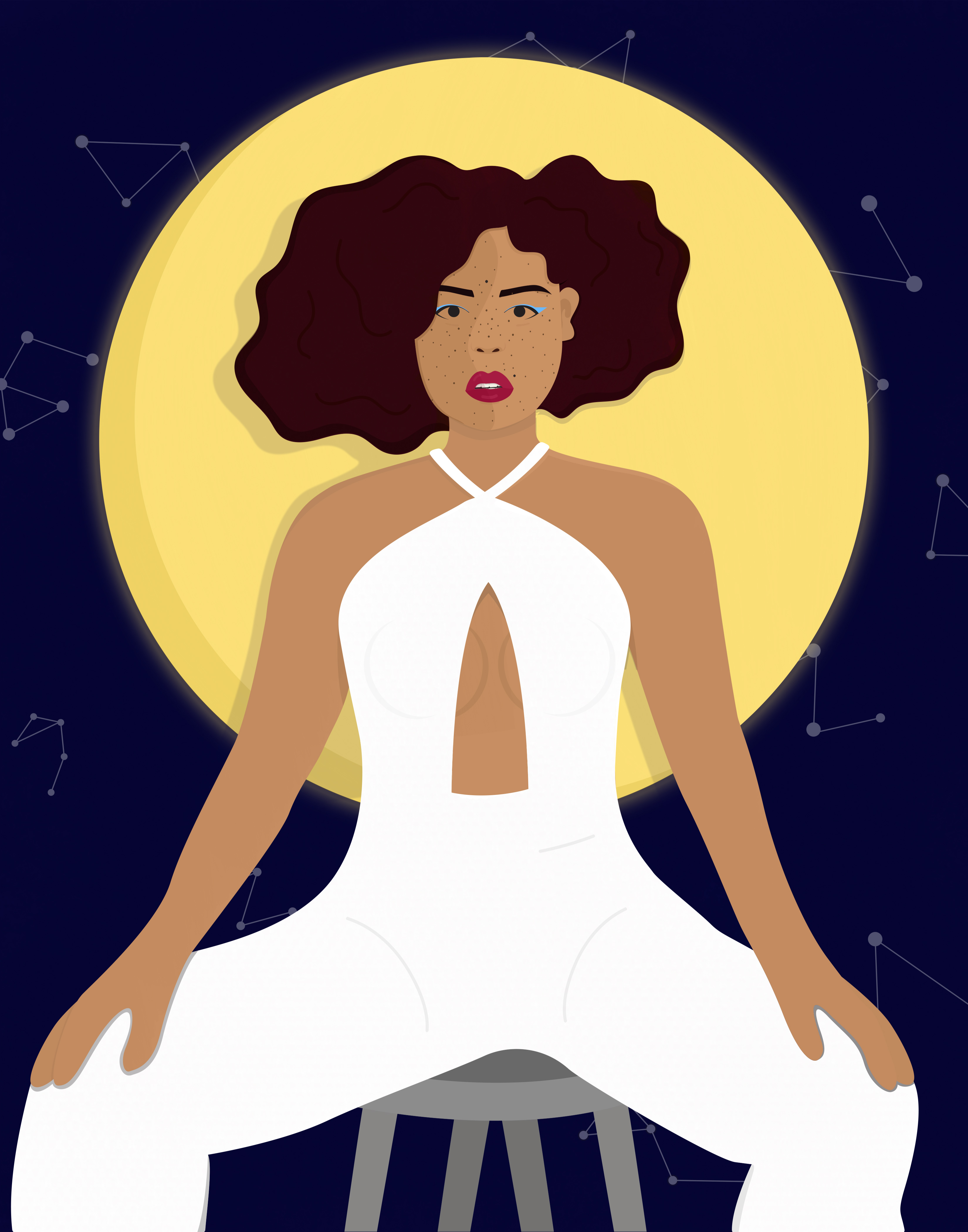 Black woman in a white jumpsuit sits on a stool in front of a large yellow moon.