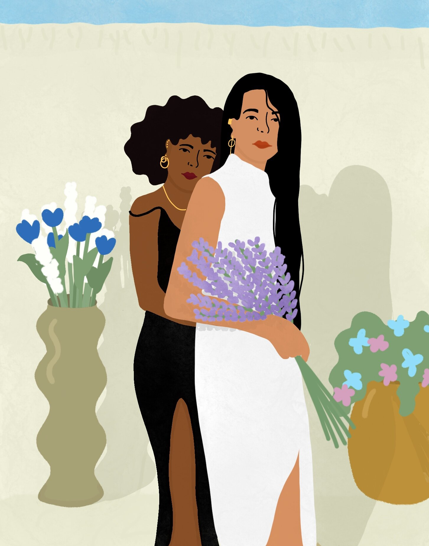 Two characters pose as a couple, with the taller character holding a bouquet of purple flowers.