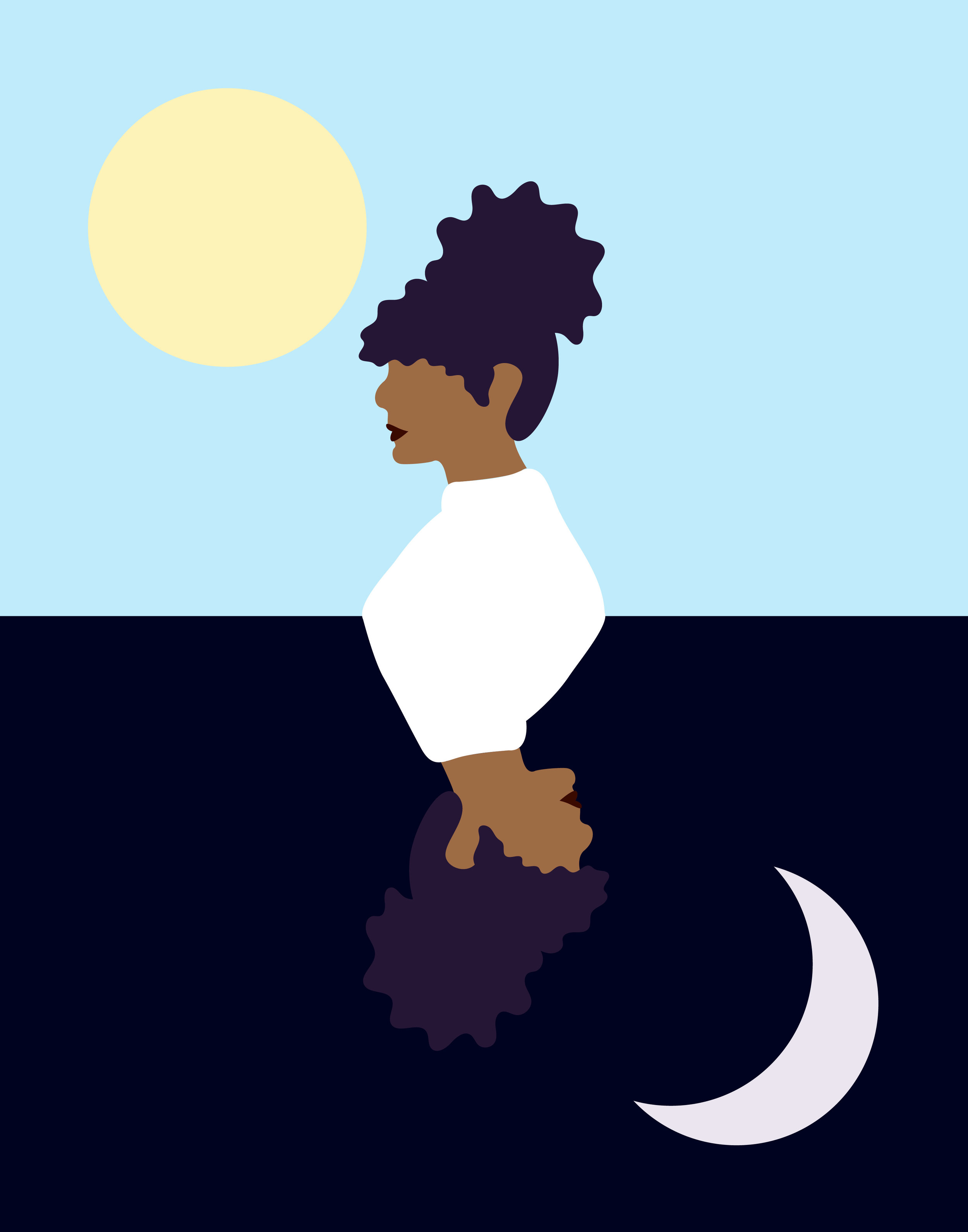 Two characters juxtaposed over a light blue background with a sun on top and a dark blue background with a crescent moon below it.