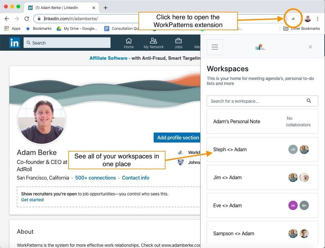 where to click to open the workpatterns chrome extension