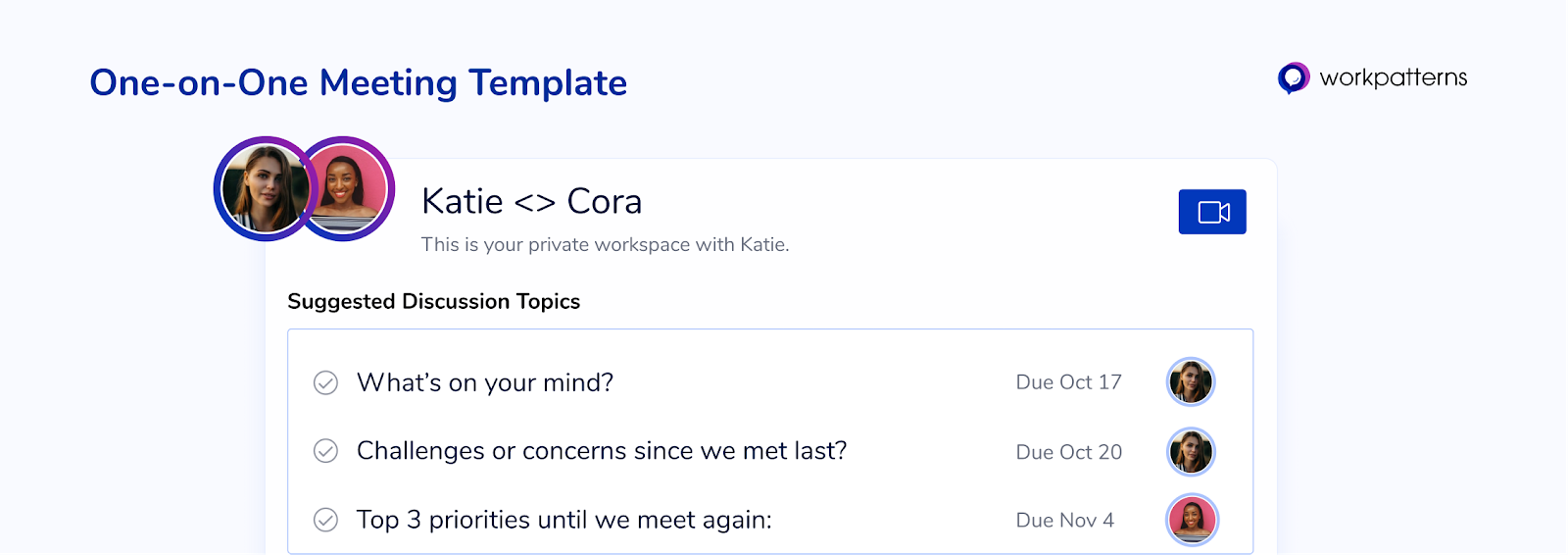 One on one meeting template in WorkPatterns the people management app