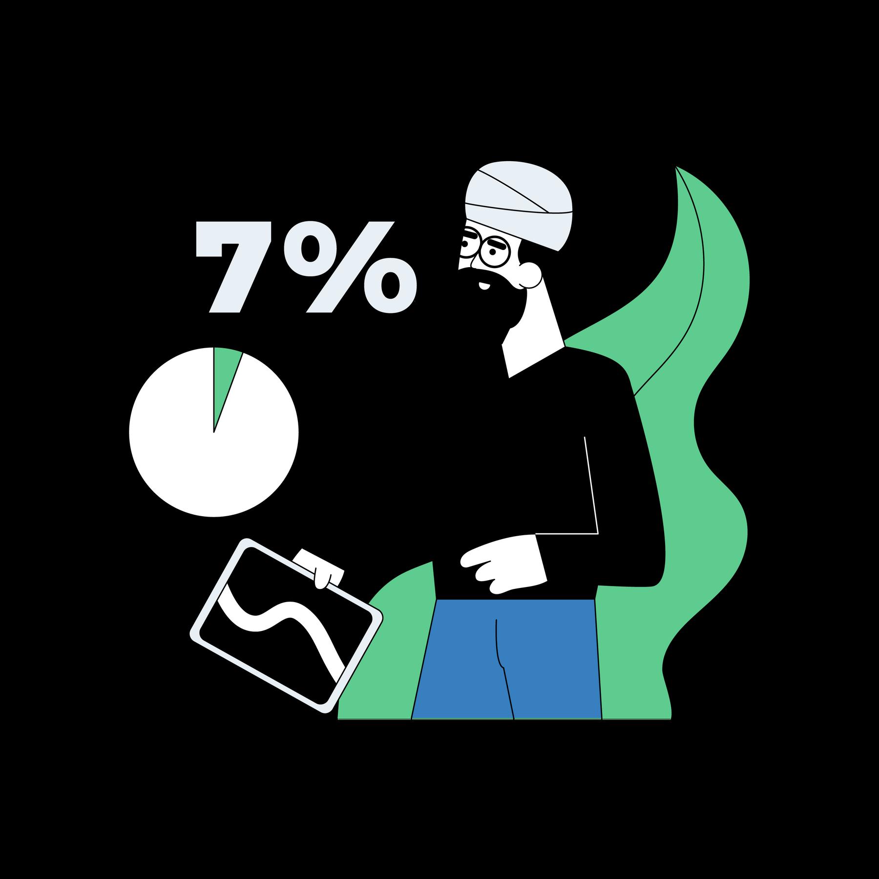 Illustration of man holding a tablet.