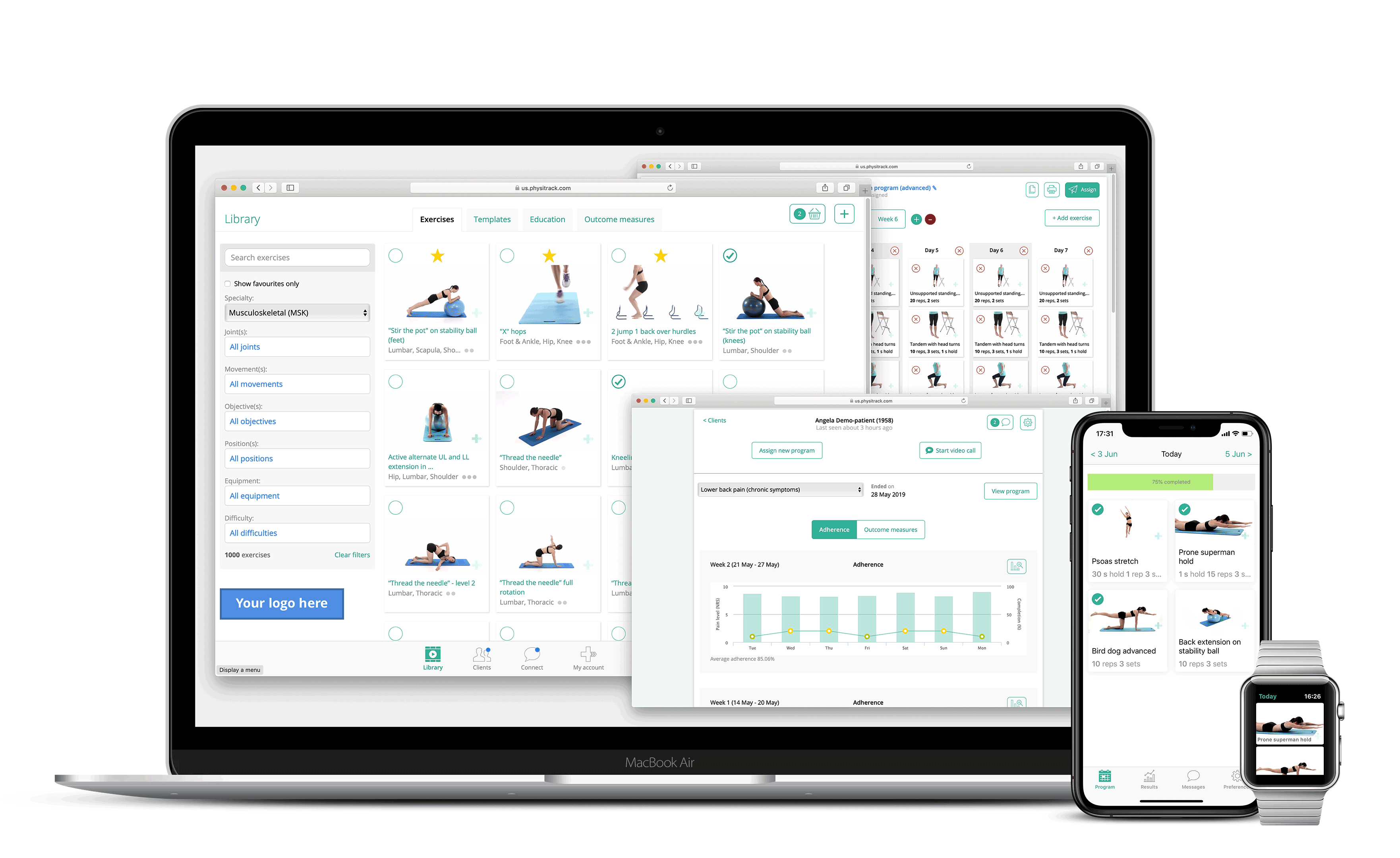 Physitrack SaaS on Apple devices