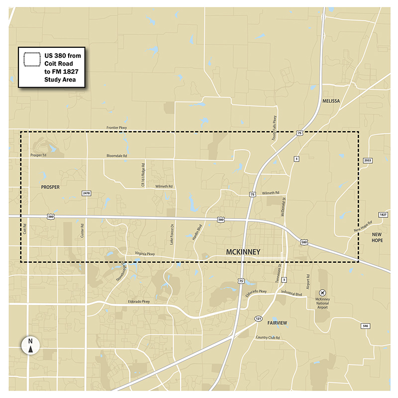 Image of the study area for US 380 located in Collin County from Coit Road to FM 1827