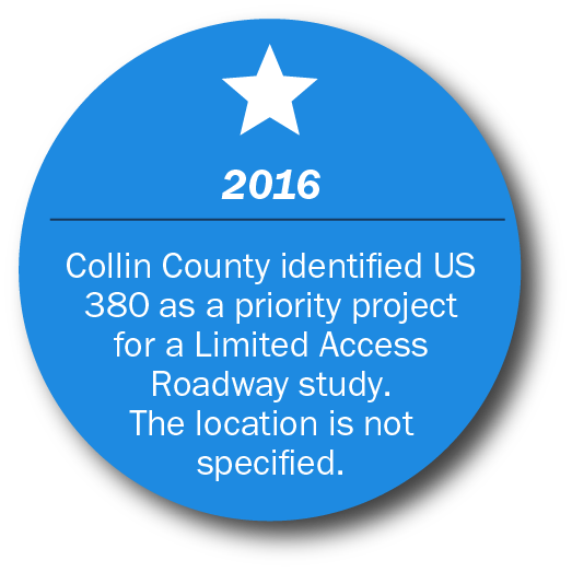 2016  Collin County identified US 380 as a priority project for a Limited Access Roadway study.  The location is not specified.