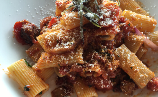Plate of pasta with meat ragu.