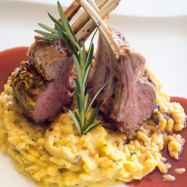 Plate of yellow risotto with lamb shanks.