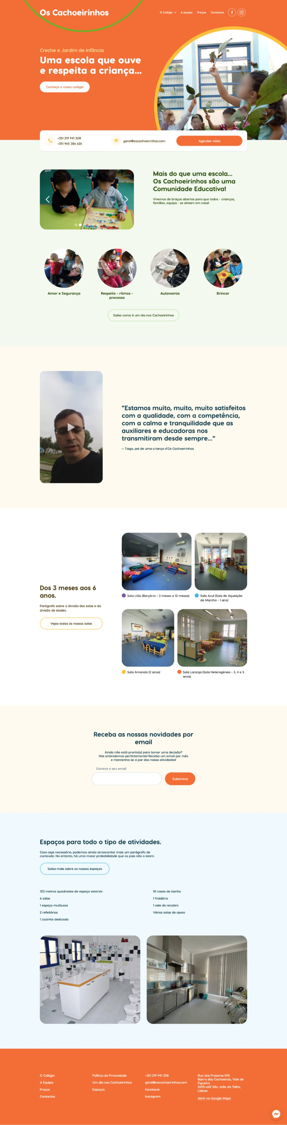 Screenshot of Os Cachoeirinhos website
