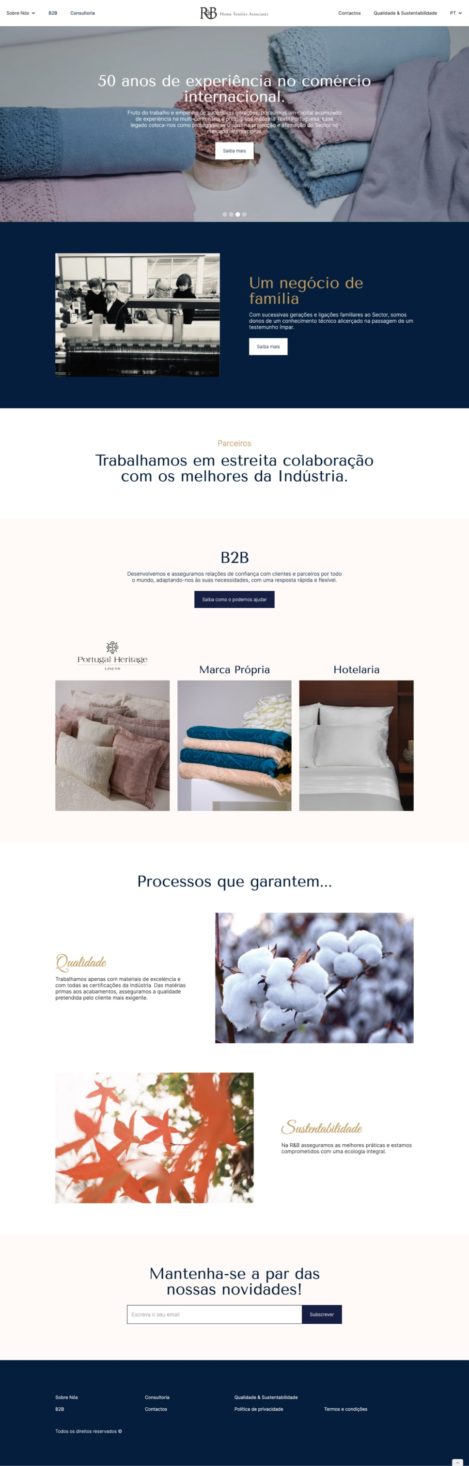 Screenshot of RB Textiles website