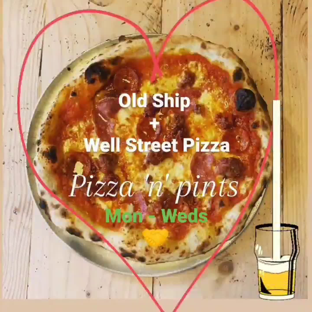 We're teaming up with our sister @wellstreetpizza! Mon - Weds, 5pm - 9:30pm  Order pizza to your table while enjoying a pint or 2 🍕❤️  Don't worry, the Old Ship kitchen will be back Thurs - Sun. . . . #pizzalover #pizzanpints #pizzaandpints #pintspintspints #hackbeyresturants #hackneyweddings #hackneypizza #sisterpub #urbanpubsandbars #marestreethackney #marestreetrestaurants #hackneypubs #publife
