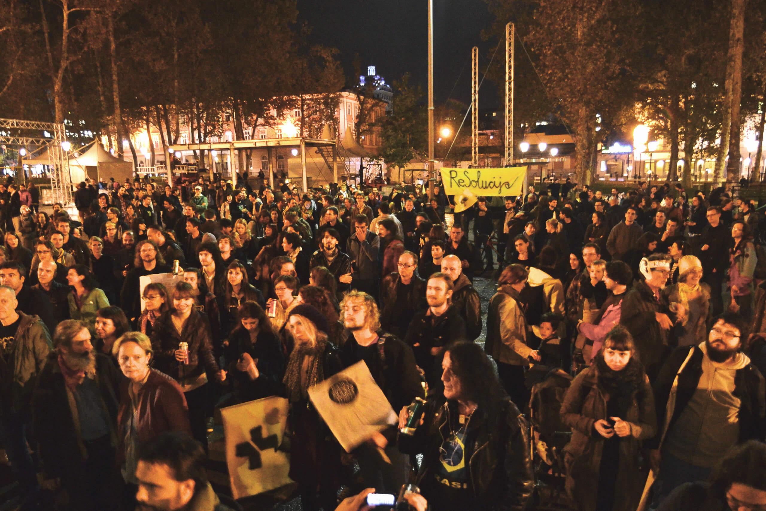 Group of people in Ljubljana.