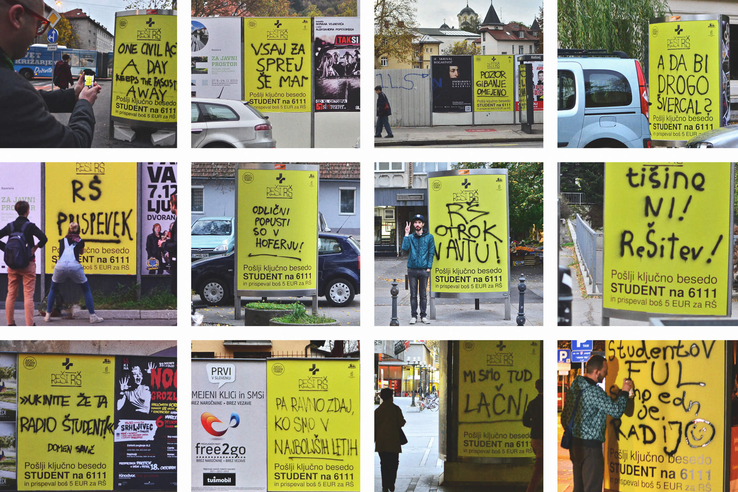 Outdoor posters designed for Radio Študent.