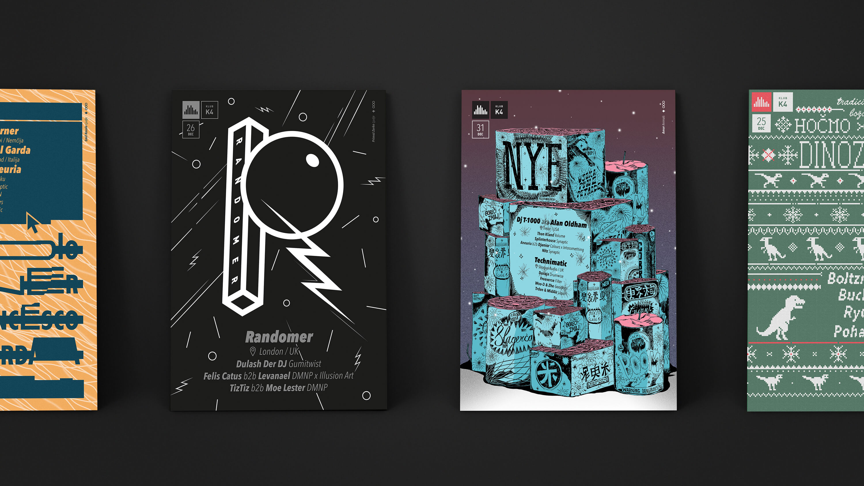 A group of posters designed for club K4.