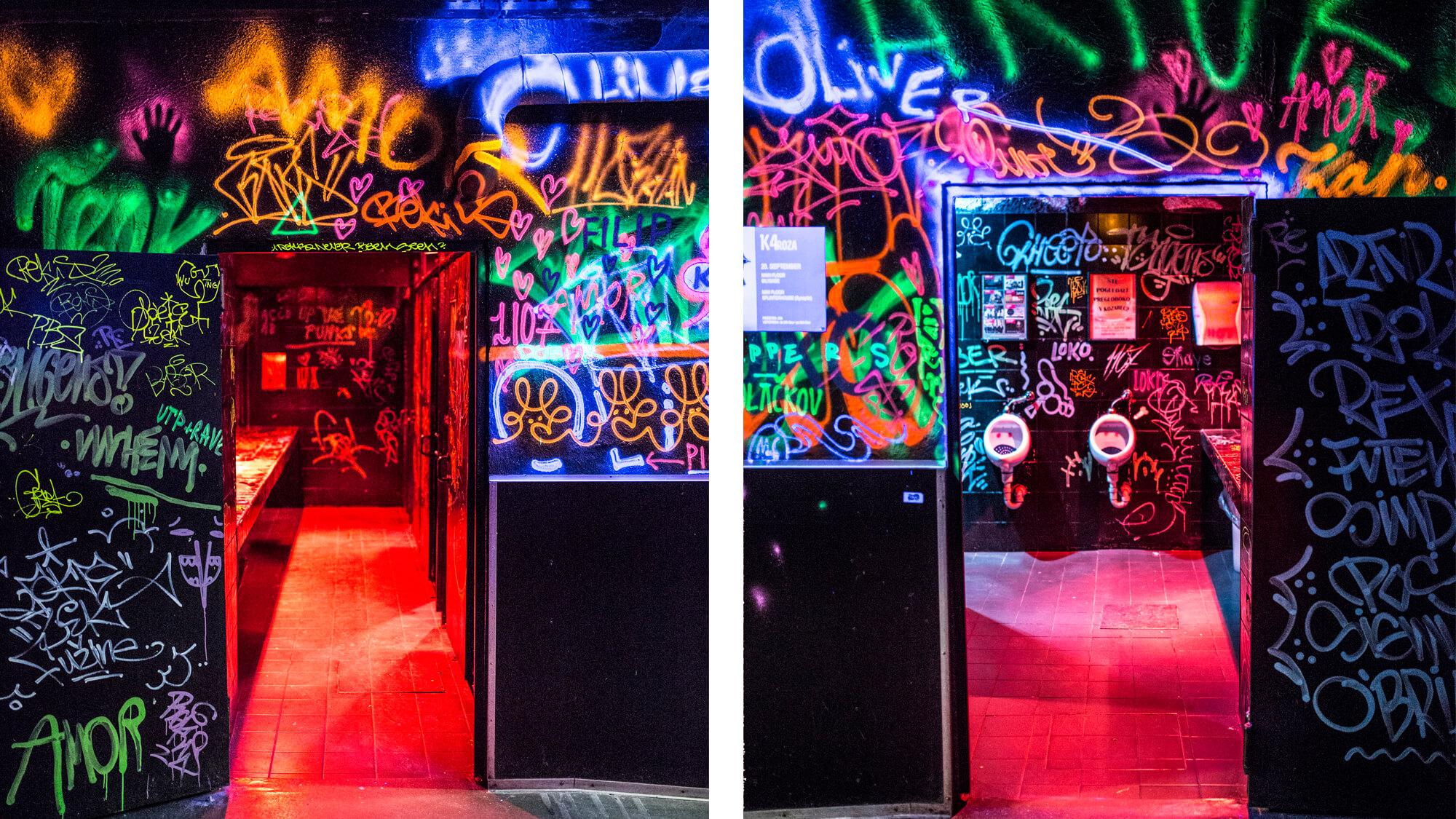 Graffiti walls of club K4 in Ljubljana.