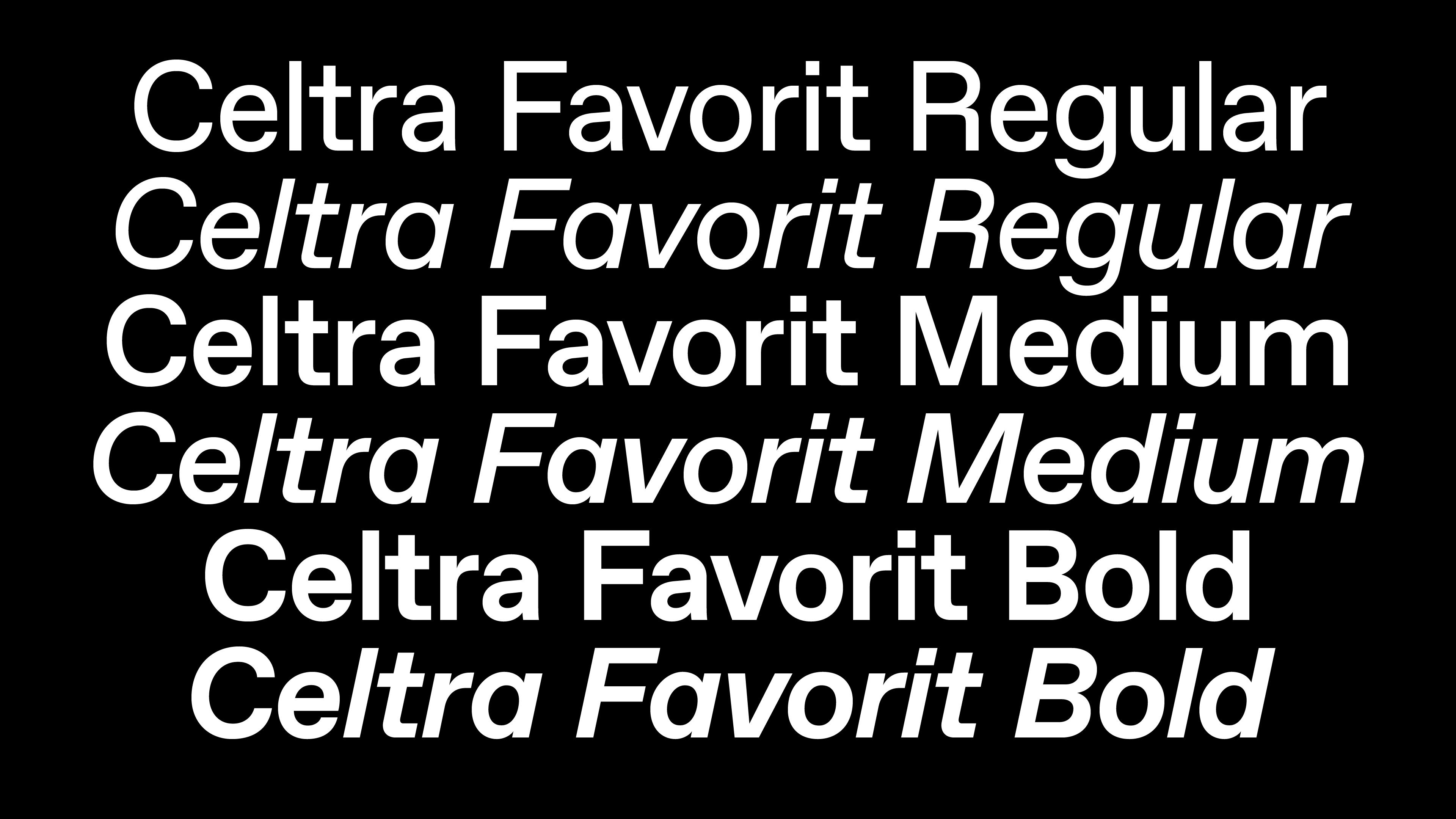 Celtra Favorit font specimen.