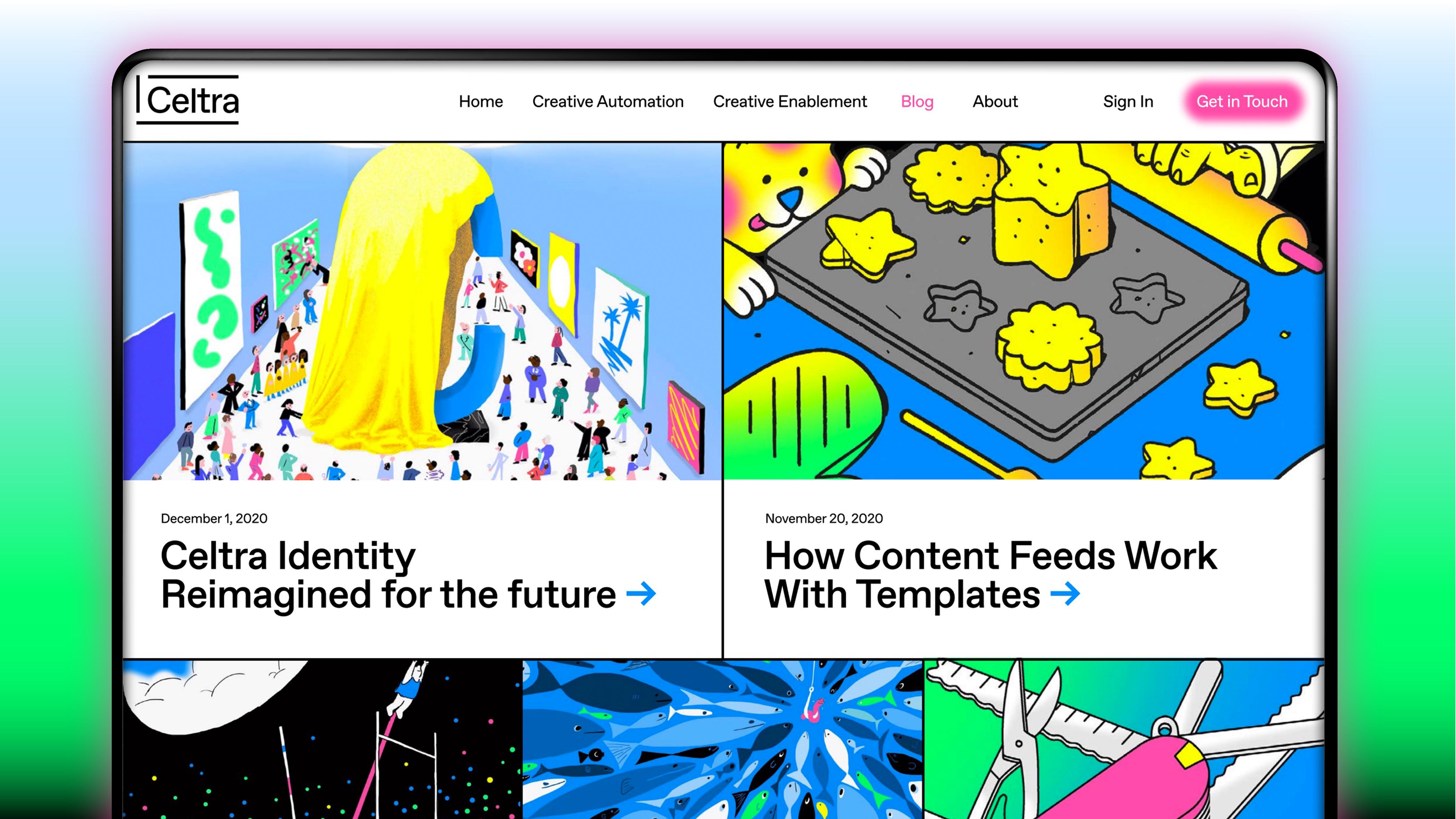 Blog webpage design for Celtra.