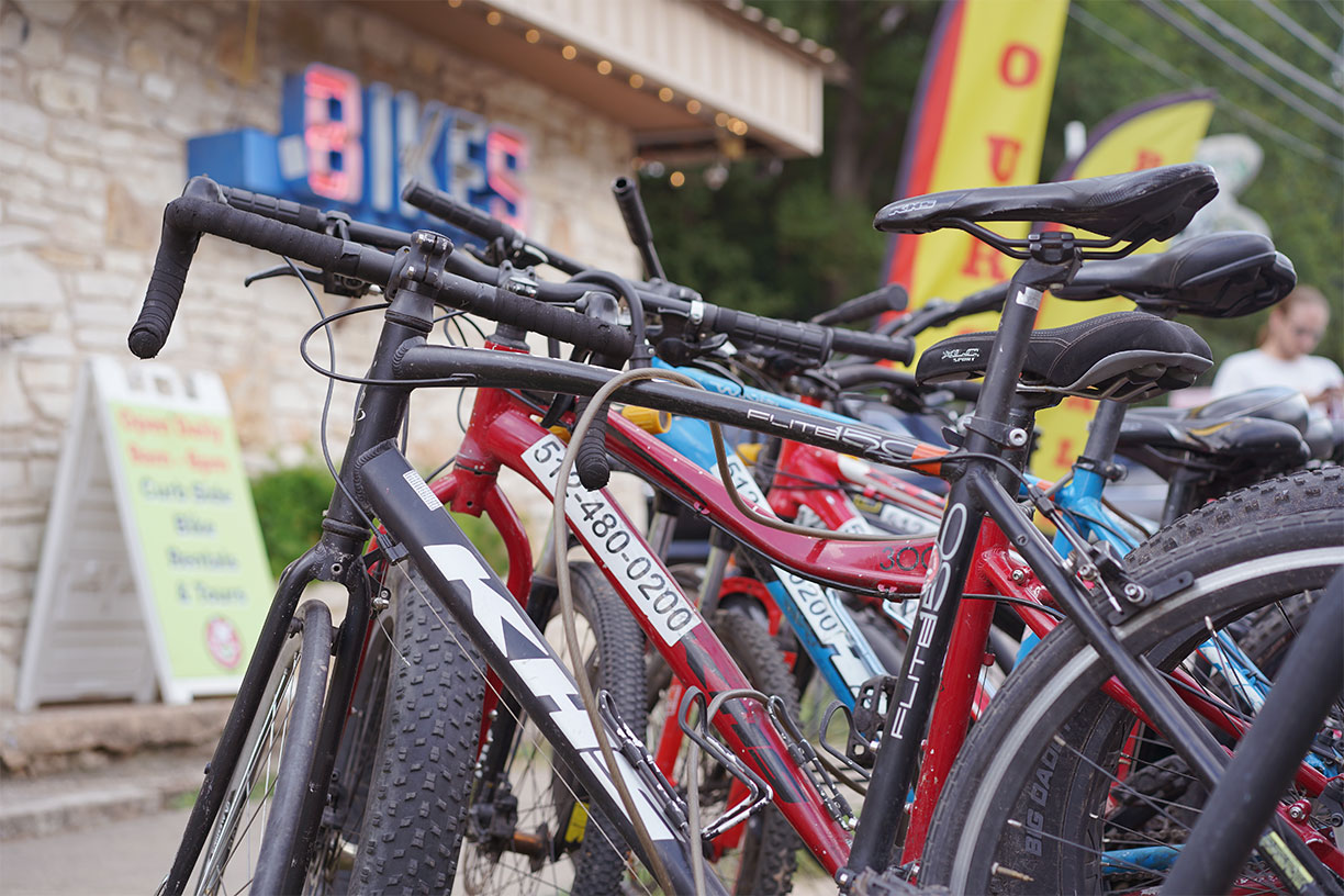 Bicycles in front of Barton Springs Bike Rental