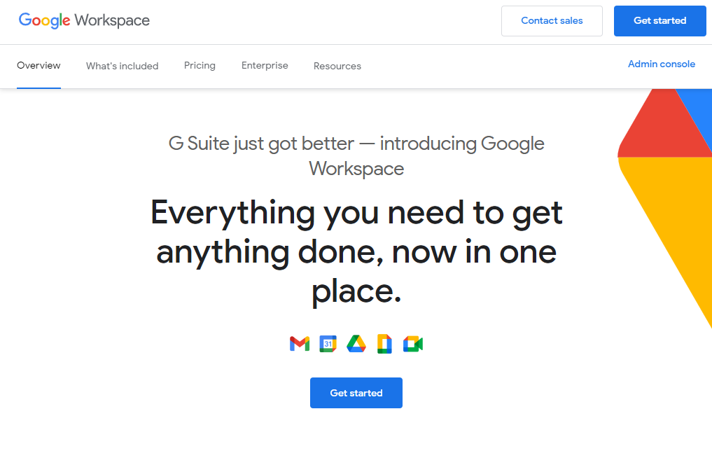 Google Workspace home page