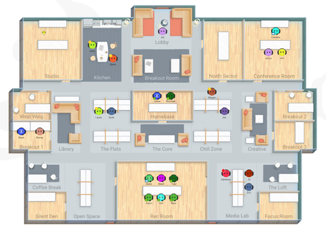 A screenshot of a Sococo office - an overhead image of a floorplan with people in different rooms