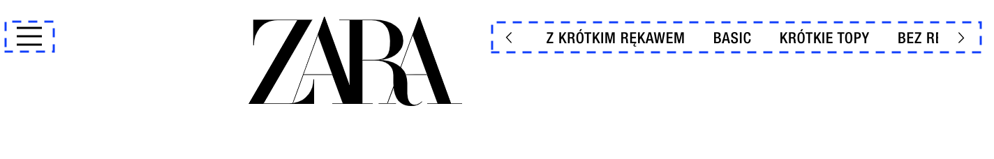 Menu i lista kategorii - Zara