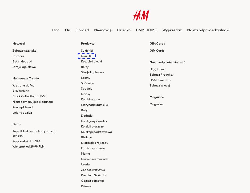 Nawigacja po kategoriach - H&M
