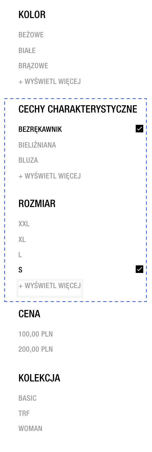 Filtrowanie - Zara