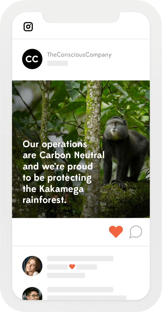 Phone screen with an Instagram post about a company's carbon neutrality