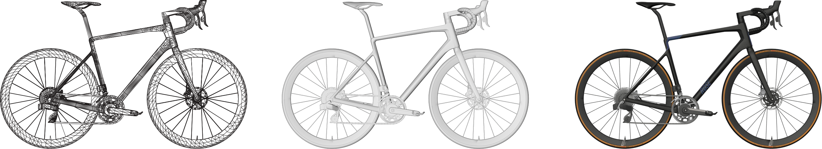 Asset creation process, displayed by bike 3D model creation