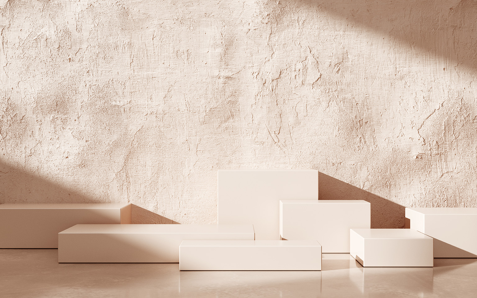 HQ hero image for polyte gallery, red/pink stane room with cubes and sunlight falling in as if ray traced
