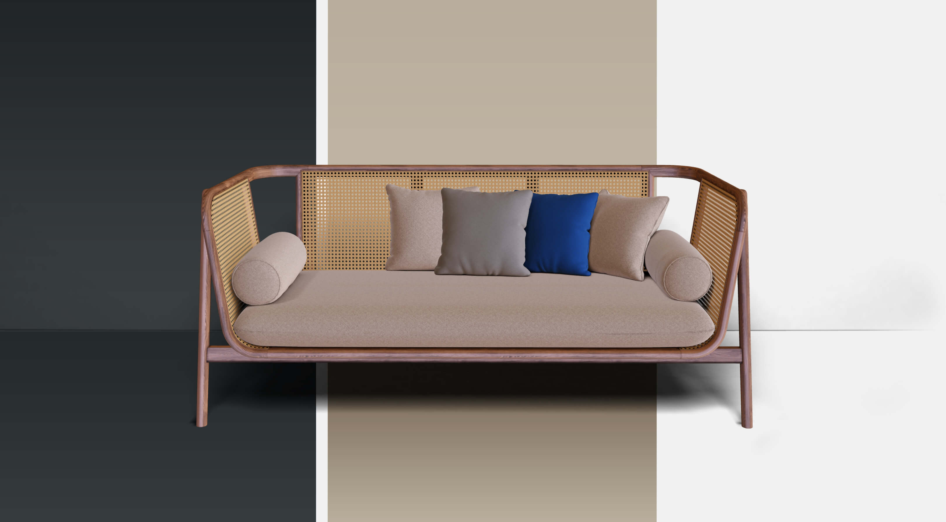 3D visualized product (couch) in front of different backgrounds, to show scene manipulation