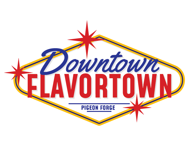 DownTown Flavortown Logo at the tower shops in pigeon forge tennessee