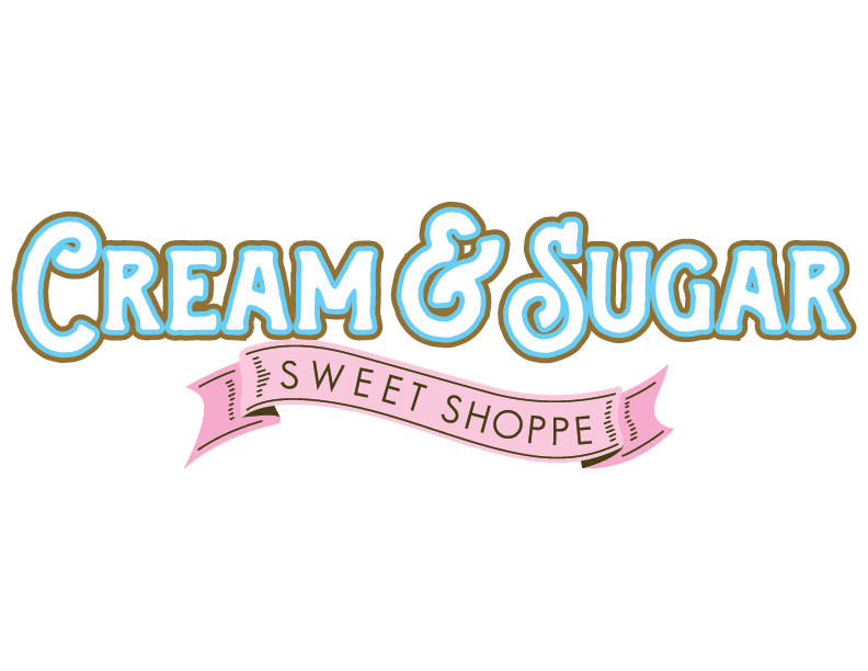 Cream and Sugar Sweet Shoppe logo at the tower shops in pigeon forge tennessee