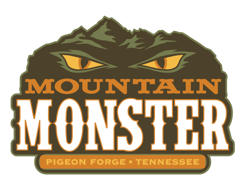 Mountain monster Logo at the tower shops in pigeon forge tennessee