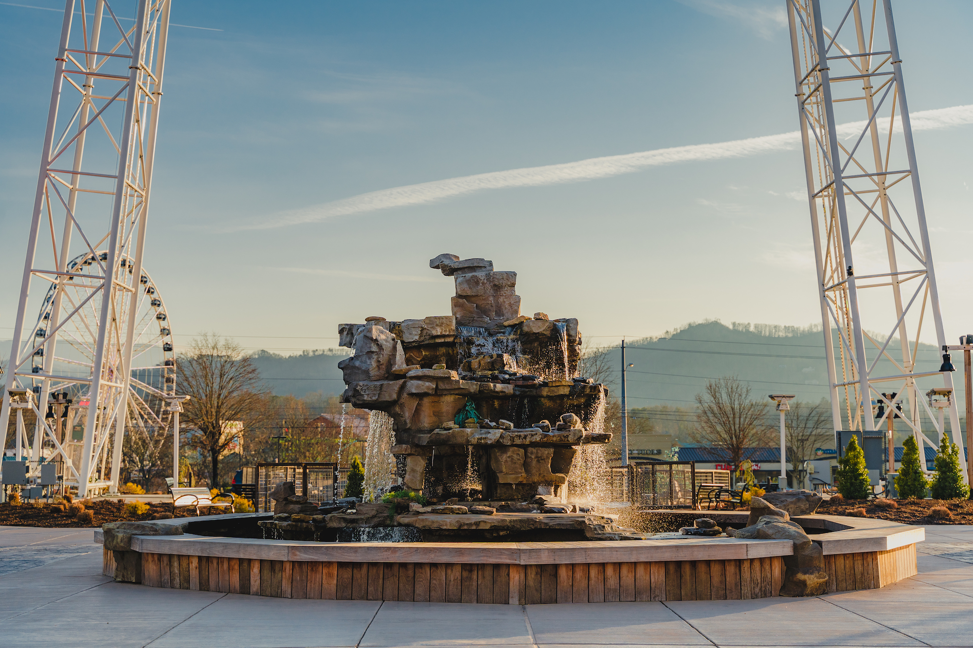 water fountain in the lawn of the tower shops at the mountain mile in pigeon forge tennessee